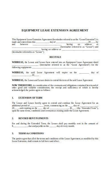equipoment lease extension agreement