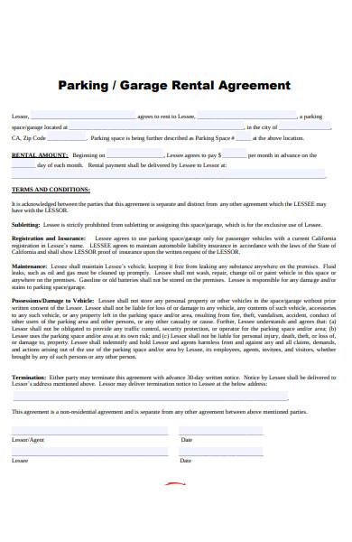 garage rental agreement form