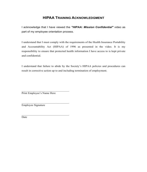 hipaa employee acknowledgment form sample template