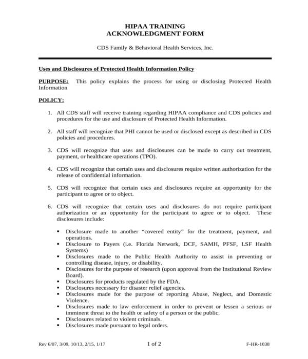 hipaa employee training acknowledgment form template