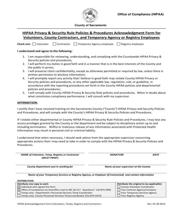 hipaa volunteer non employee acknowledgment form