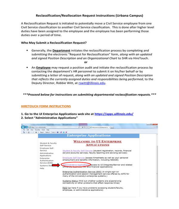 hr reclassification application instructions form