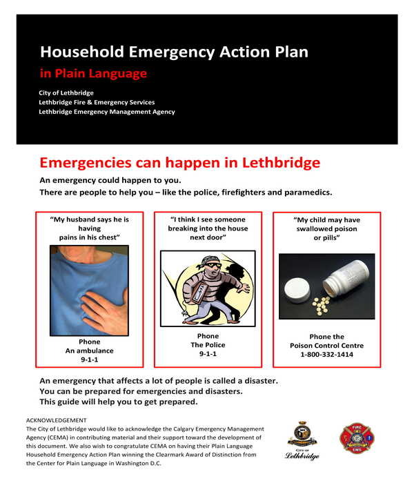 household emergency action plan form template