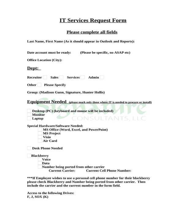 it service request form sample