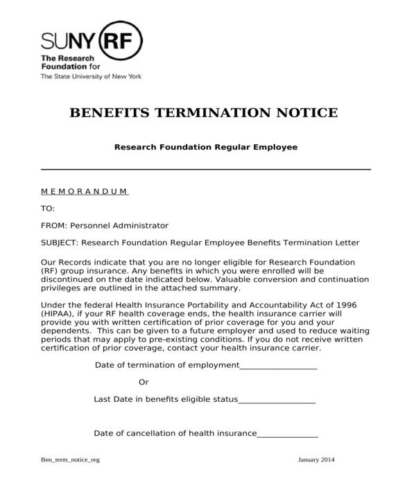 insurance benefits termination letter
