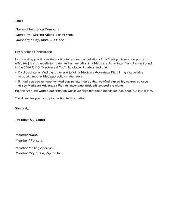 insurance termination letter sample