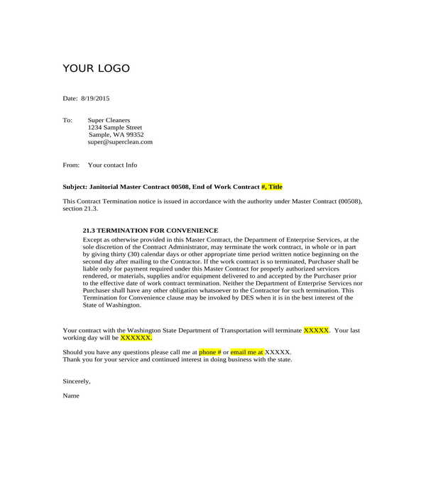 janitorial master contract termination letter