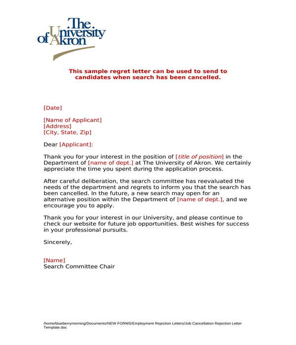 job cancellation rejection letter template