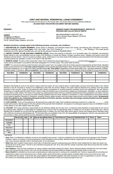 joint lease agreement