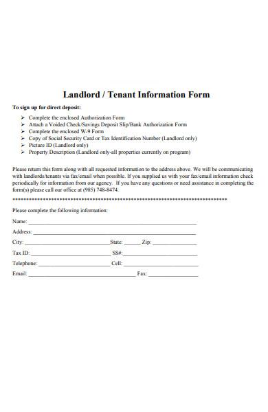 landlord tenant information form