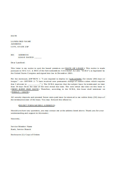 lease termination letter examples