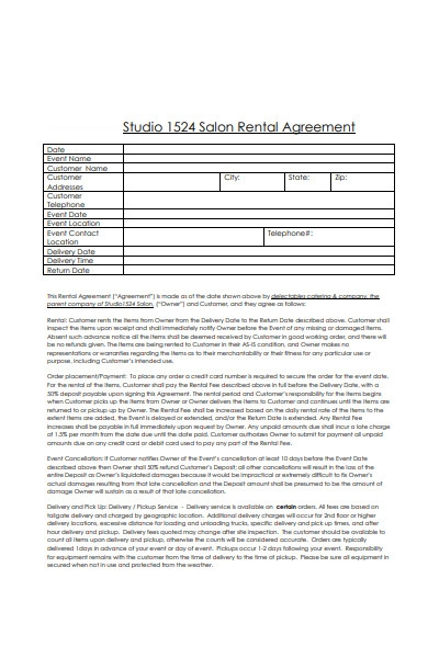 massage salon rental agreement