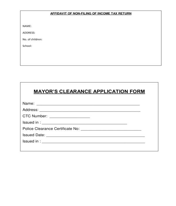 mayors clearance application form