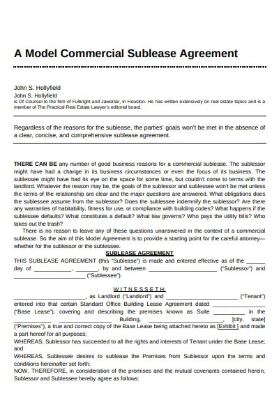 model commercial sublease agreement