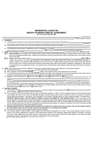 month to month residential lease agreement