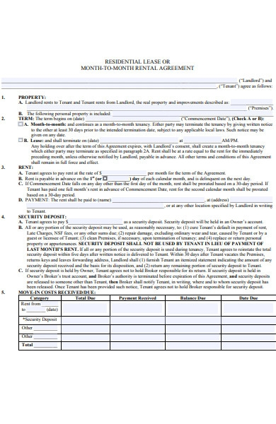 month to month residential lease agreement example