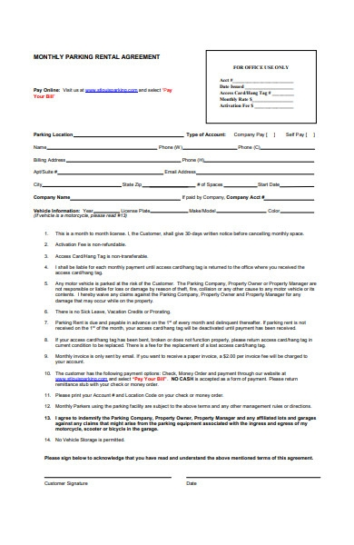 monthly parking rental agreement