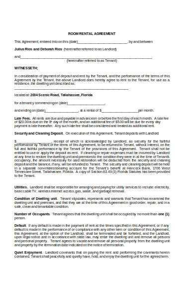 monthly room rental agreement form