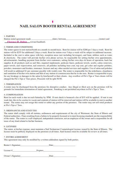 nail salon rental agreement form