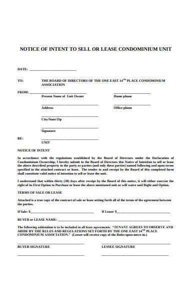 notice to condo rental form
