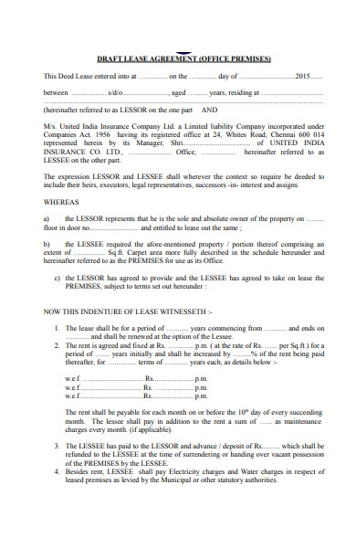 office lease agreement example