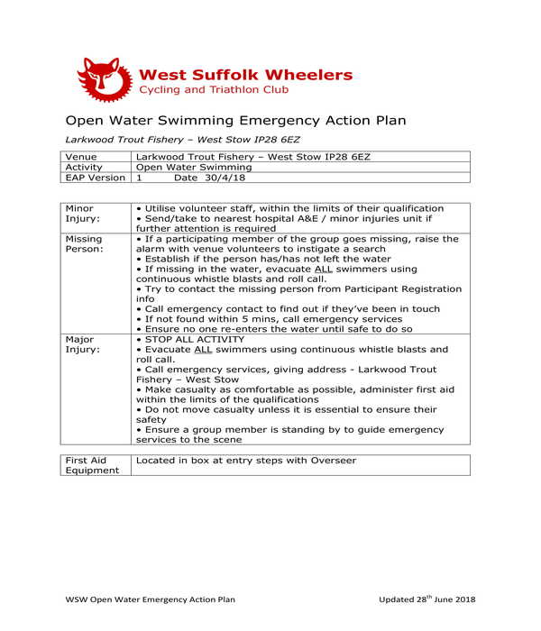 open water swimming emergency action plan form template