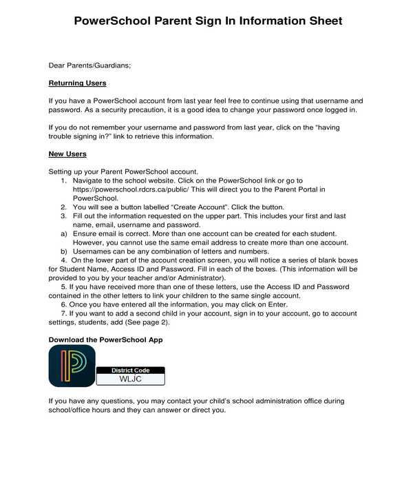 parent sign in information sheet