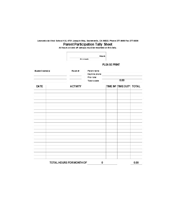 parent tally sign in sheets