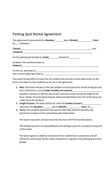 parking spot rental agreement form