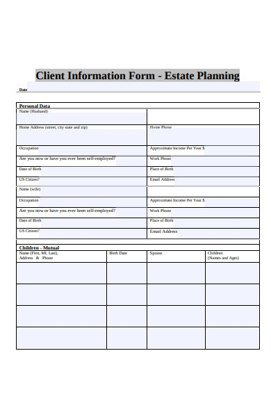 planning client information form