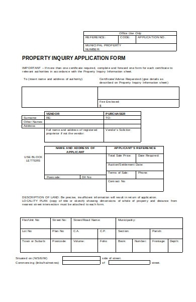 planning property enquiry form