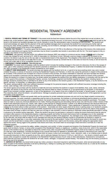 printable residential lease addendum