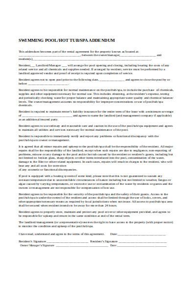 printable swimming pool lease addendum