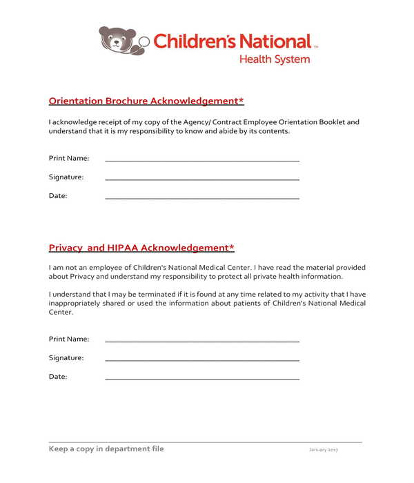 privacy and hipaa employee acknowledgment form