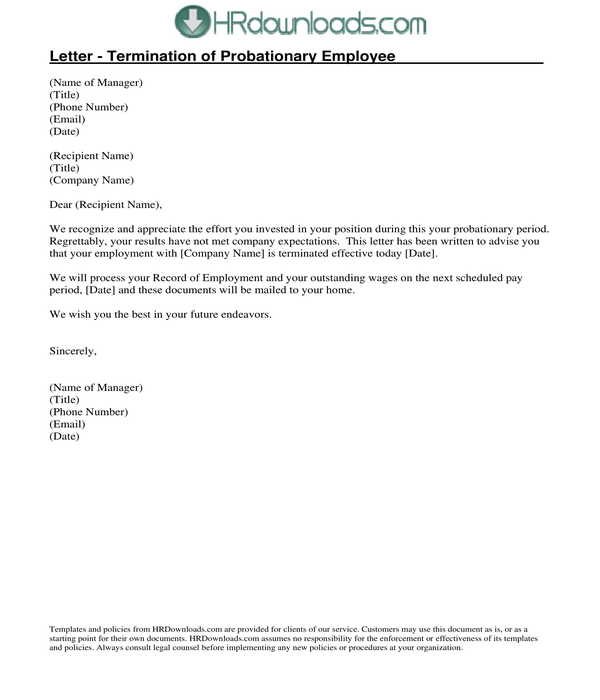 probationary employee termination letter