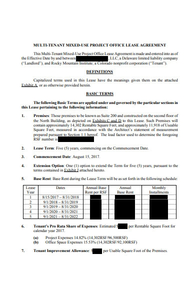 project office lease agreement