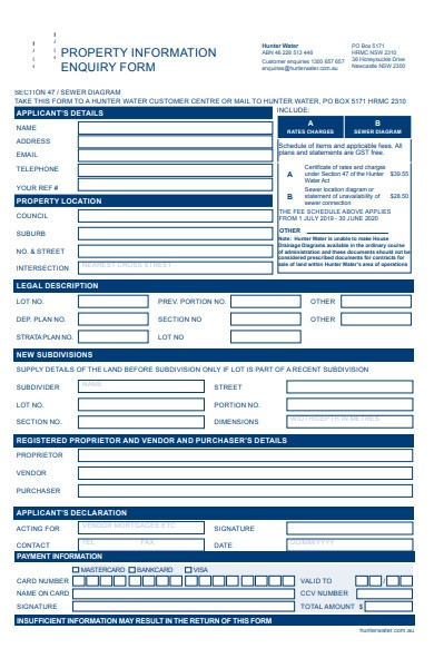 property enquiry information form