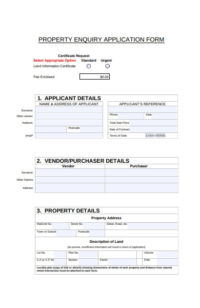 propery enquiry application form