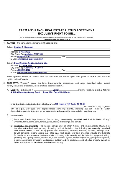 real estate listing agreement forms