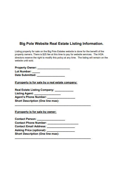 real estate listing information form