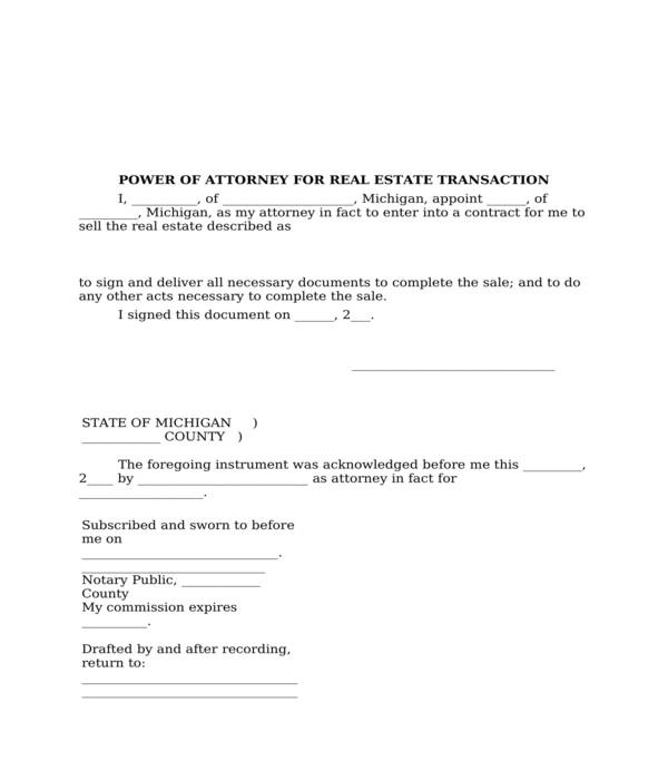 real estate power of attorney form in doc