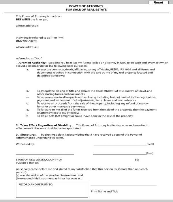 real estate sale power of attorney form