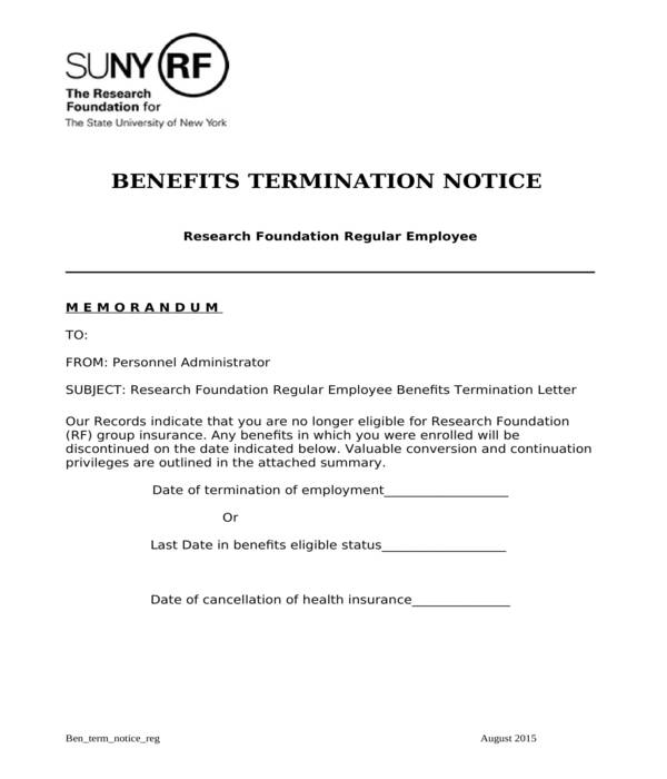 regular employee employment benefits termination letter