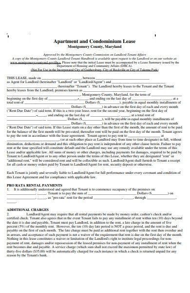 residential apartment lease agreements