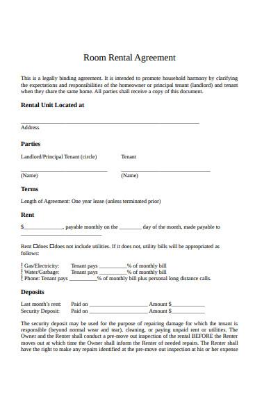 room rental agreement4