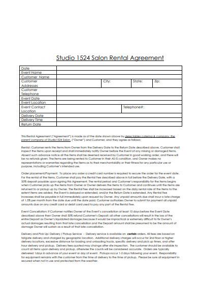 salon rental agreement