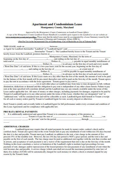 sample condominimum rental form