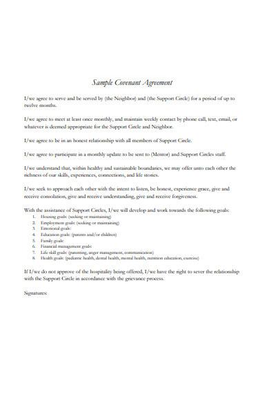 sample covenant agreement