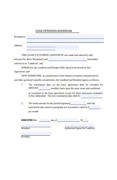 sample lease extension addendum form