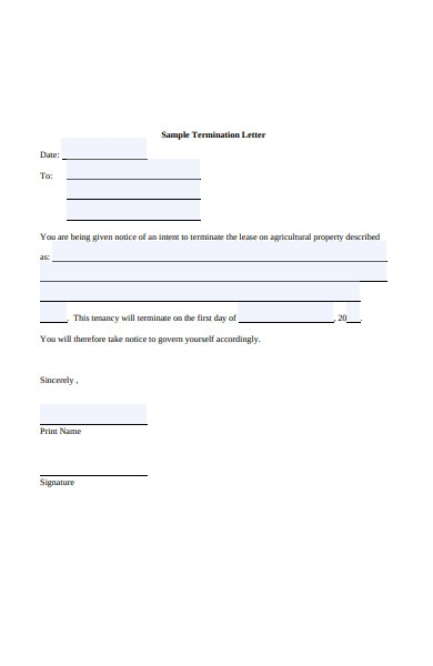 free 5  lease termination letters in pdf